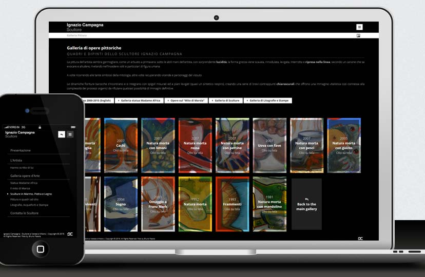 Responsive web design artist website